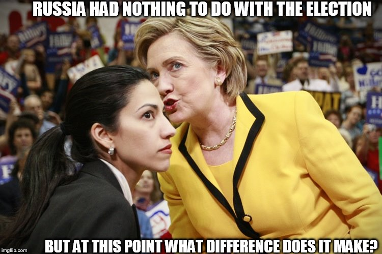 hillary clinton | RUSSIA HAD NOTHING TO DO WITH THE ELECTION BUT AT THIS POINT WHAT DIFFERENCE DOES IT MAKE? | image tagged in hillary clinton,russia,election,diffrence,point  at | made w/ Imgflip meme maker