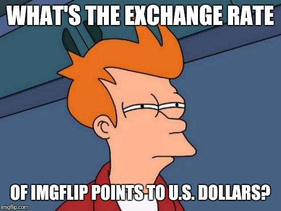 Futurama Fry Meme | WHAT'S THE EXCHANGE RATE OF IMGFLIP POINTS TO U.S. DOLLARS? | image tagged in memes,futurama fry | made w/ Imgflip meme maker