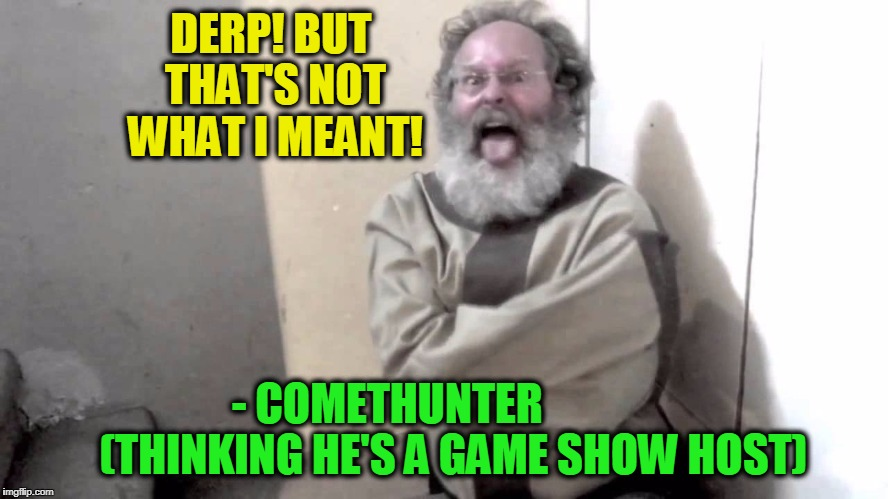 Nuts | DERP! BUT THAT'S NOT WHAT I MEANT! - COMETHUNTER               (THINKING HE'S A GAME SHOW HOST) | image tagged in nuts | made w/ Imgflip meme maker