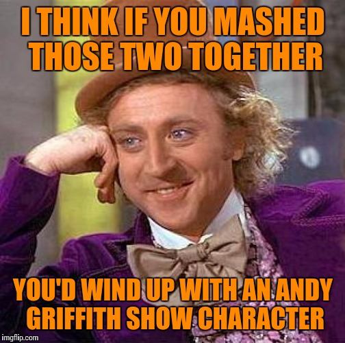 Creepy Condescending Wonka Meme | I THINK IF YOU MASHED THOSE TWO TOGETHER YOU'D WIND UP WITH AN ANDY GRIFFITH SHOW CHARACTER | image tagged in memes,creepy condescending wonka | made w/ Imgflip meme maker