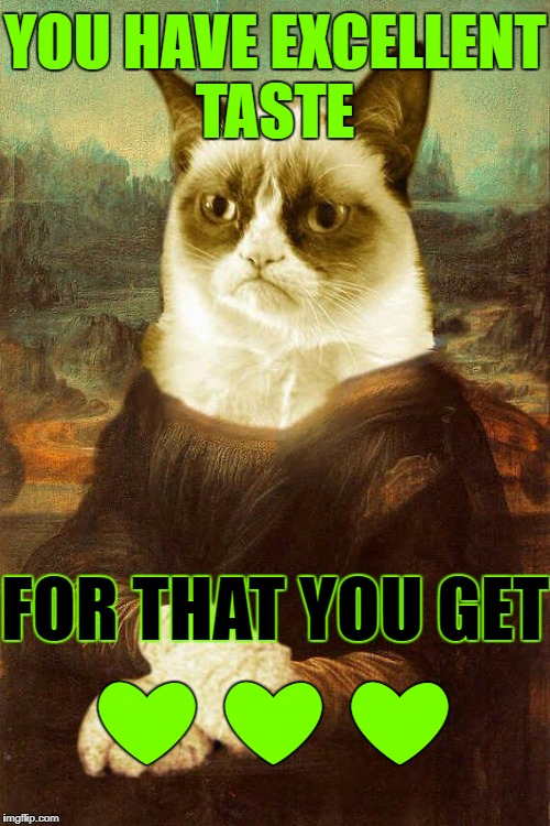 Grumpy cat 1 | YOU HAVE EXCELLENT TASTE FOR THAT YOU GET ❤ ❤ ❤ | image tagged in grumpy cat 1 | made w/ Imgflip meme maker