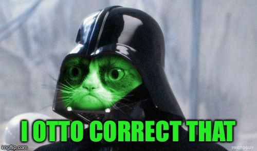 Grumpy RayVader | I OTTO CORRECT THAT | image tagged in grumpy rayvader | made w/ Imgflip meme maker