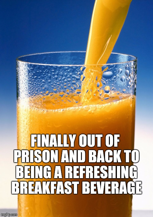 OJ anyone?  | FINALLY OUT OF PRISON AND BACK TO BEING A REFRESHING BREAKFAST BEVERAGE | image tagged in jbmemegeek,oj simpson,orange juice,puns | made w/ Imgflip meme maker