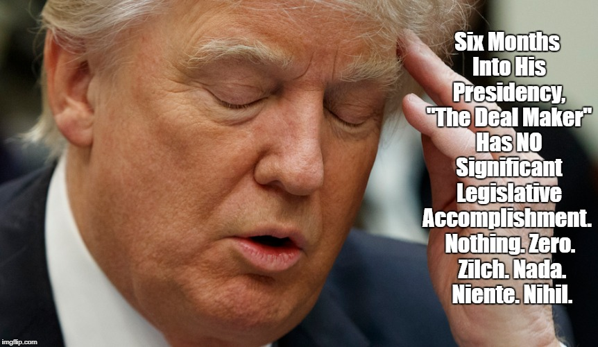 "Six Months Into His Presidency, ""The Deal Maker"" Has NO Significant Legislative Accomplishment. Nothing. Zero. Zilch. Nada. Niente. Nihil. 