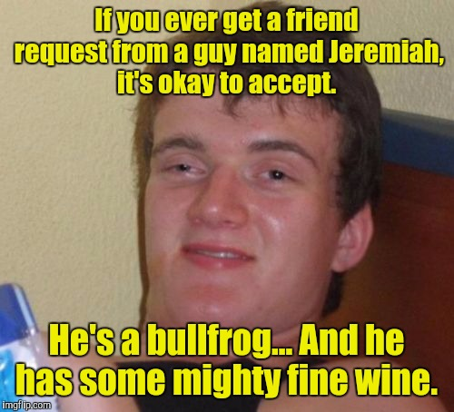 10 Guy Meme | If you ever get a friend request from a guy named Jeremiah, it's okay to accept. He's a bullfrog... And he has some mighty fine wine. | image tagged in memes,10 guy | made w/ Imgflip meme maker