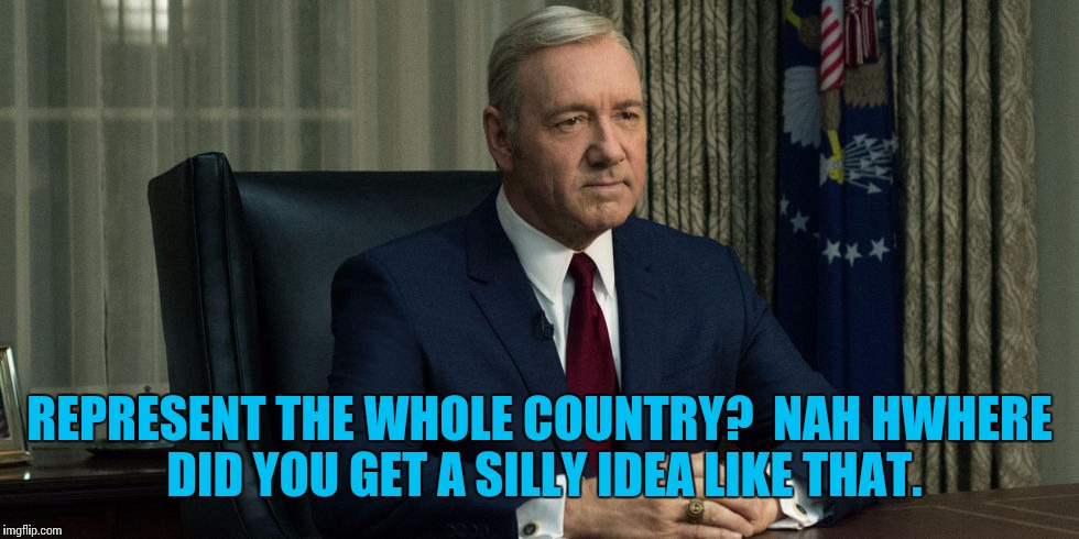 REPRESENT THE WHOLE COUNTRY?  NAH HWHERE DID YOU GET A SILLY IDEA LIKE THAT. | made w/ Imgflip meme maker