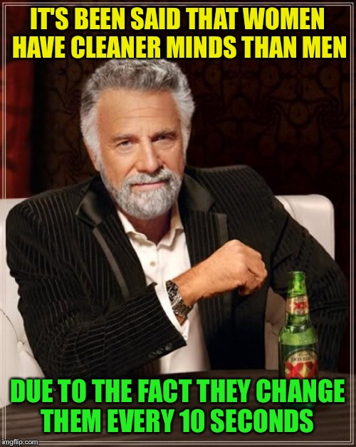 Changlings | IT'S BEEN SAID THAT WOMEN HAVE CLEANER MINDS THAN MEN DUE TO THE FACT THEY CHANGE THEM EVERY 10 SECONDS | image tagged in memes,the most interesting man in the world,funny | made w/ Imgflip meme maker