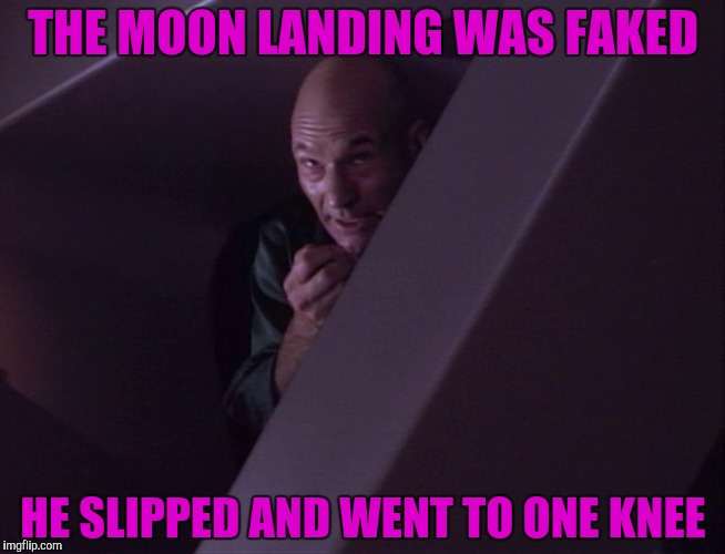 THE MOON LANDING WAS FAKED HE SLIPPED AND WENT TO ONE KNEE | made w/ Imgflip meme maker