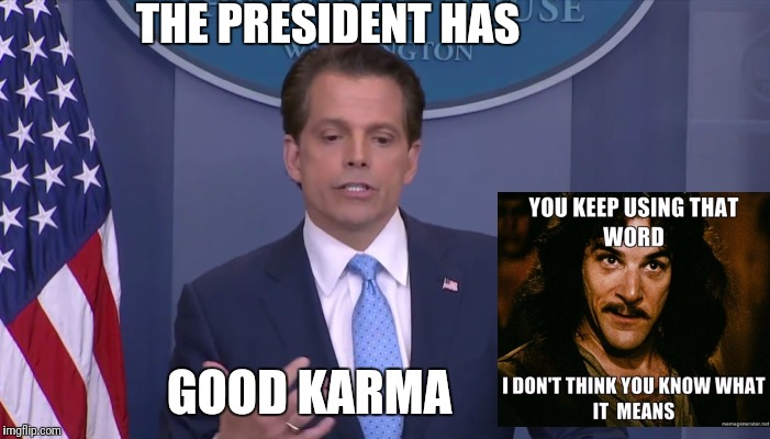 Trump has good karma | THE PRESIDENT HAS GOOD KARMA | image tagged in donald trump | made w/ Imgflip meme maker