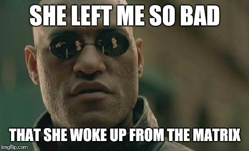 Matrix Morpheus Meme | SHE LEFT ME SO BAD THAT SHE WOKE UP FROM THE MATRIX | image tagged in memes,matrix morpheus | made w/ Imgflip meme maker