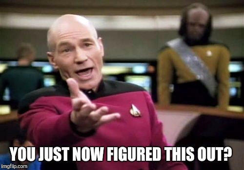 Picard Wtf Meme | YOU JUST NOW FIGURED THIS OUT? | image tagged in memes,picard wtf | made w/ Imgflip meme maker
