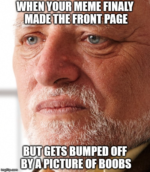 WHEN YOUR MEME FINALY MADE THE FRONT PAGE BUT GETS BUMPED OFF BY A PICTURE OF BOOBS | image tagged in dissapointment,memes,boobs,front page,hide the pain harold | made w/ Imgflip meme maker