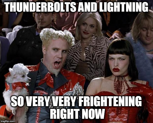 Mugatu So Hot Right Now Meme | THUNDERBOLTS AND LIGHTNING SO VERY VERY FRIGHTENING RIGHT NOW | image tagged in memes,mugatu so hot right now,bohemian rhapsody,queen | made w/ Imgflip meme maker
