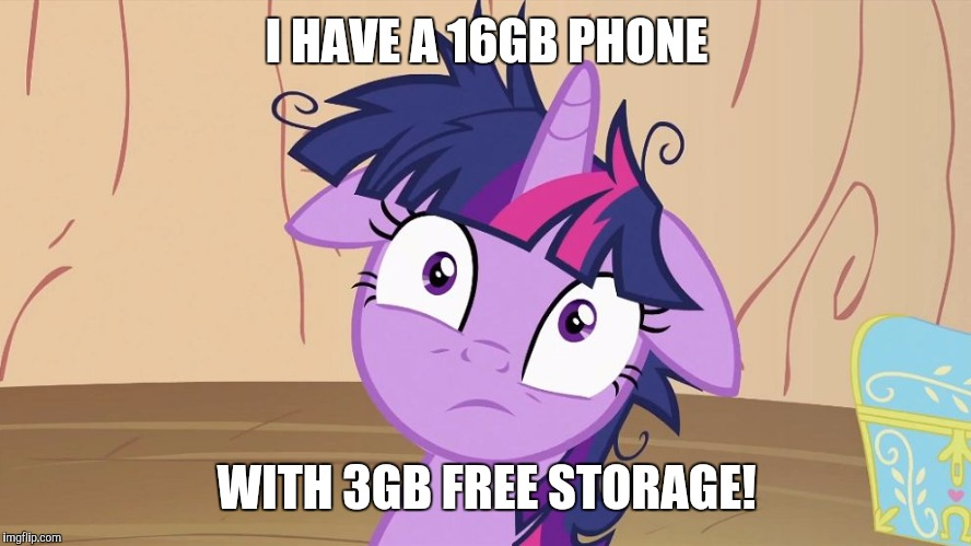 Messy Twilight Sparkle | I HAVE A 16GB PHONE WITH 3GB FREE STORAGE! | image tagged in messy twilight sparkle | made w/ Imgflip meme maker