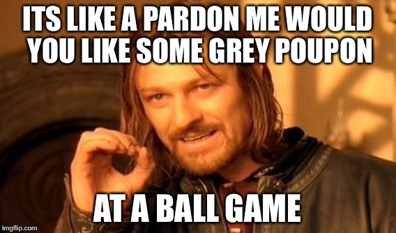 One Does Not Simply Meme | ITS LIKE A PARDON ME WOULD YOU LIKE SOME GREY POUPON AT A BALL GAME | image tagged in memes,one does not simply | made w/ Imgflip meme maker