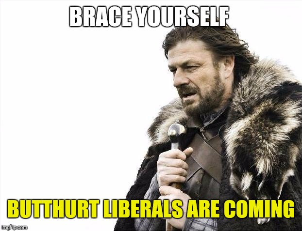 Brace Yourselves X is Coming Meme | BRACE YOURSELF BUTTHURT LIBERALS ARE COMING | image tagged in memes,brace yourselves x is coming | made w/ Imgflip meme maker