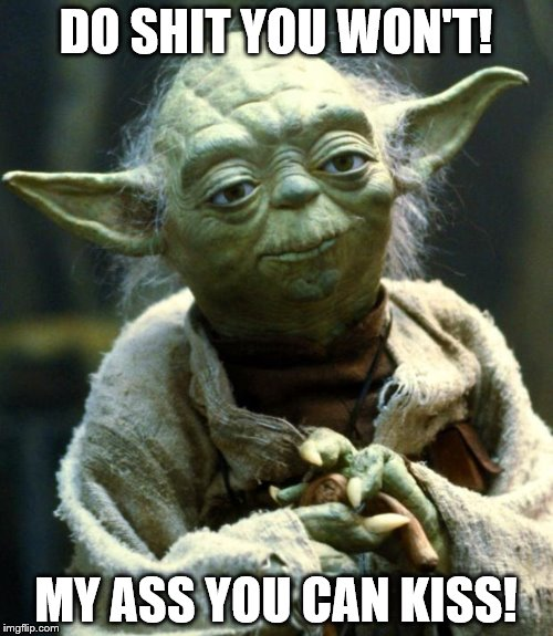 Star Wars Yoda Meme | DO SHIT YOU WON'T! MY ASS YOU CAN KISS! | image tagged in memes,star wars yoda | made w/ Imgflip meme maker