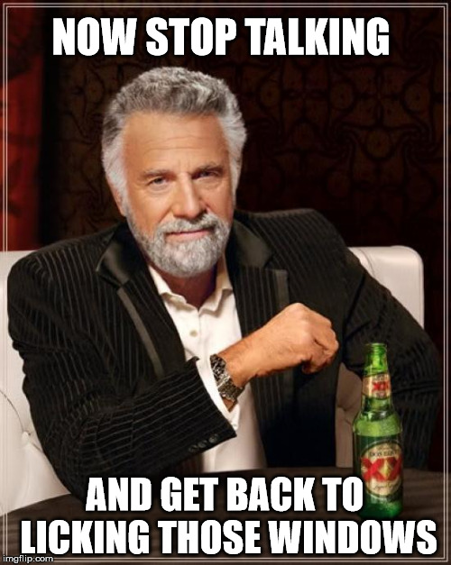 The Most Interesting Man In The World Meme | NOW STOP TALKING AND GET BACK TO LICKING THOSE WINDOWS | image tagged in memes,the most interesting man in the world | made w/ Imgflip meme maker