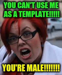 YOU CAN'T USE ME AS A TEMPLATE!!!!! YOU'RE MALE!!!!!!! | image tagged in sjw triggered,memes,funny,identity politics | made w/ Imgflip meme maker
