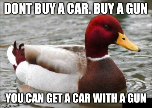 Malicious Advice Mallard | DONT BUY A CAR. BUY A GUN YOU CAN GET A CAR WITH A GUN | image tagged in memes,malicious advice mallard | made w/ Imgflip meme maker