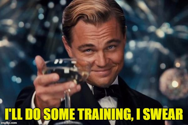 Leonardo Dicaprio Cheers Meme | I'LL DO SOME TRAINING, I SWEAR | image tagged in memes,leonardo dicaprio cheers | made w/ Imgflip meme maker