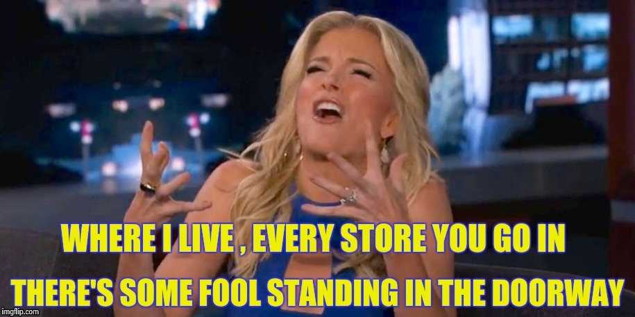 Megan Kelley | WHERE I LIVE , EVERY STORE YOU GO IN THERE'S SOME FOOL STANDING IN THE DOORWAY | image tagged in megan kelley | made w/ Imgflip meme maker