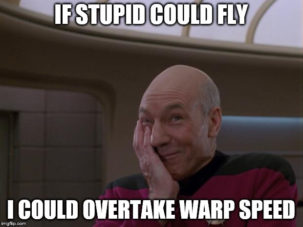 Stupid Joke Picard | IF STUPID COULD FLY I COULD OVERTAKE WARP SPEED | image tagged in stupid joke picard | made w/ Imgflip meme maker