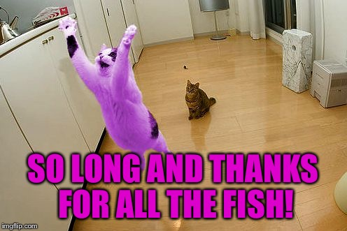 RayCat save the world | SO LONG AND THANKS FOR ALL THE FISH! | image tagged in raycat save the world | made w/ Imgflip meme maker