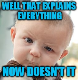 Skeptical Baby Meme | WELL THAT EXPLAINS EVERYTHING NOW DOESN'T IT | image tagged in memes,skeptical baby | made w/ Imgflip meme maker
