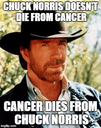 Chuck Norris Meme | CHUCK NORRIS DOESN'T DIE FROM CANCER CANCER DIES FROM CHUCK NORRIS | image tagged in memes,chuck norris | made w/ Imgflip meme maker
