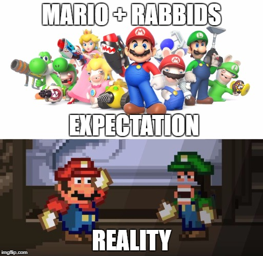 MARIO + RABBIDS EXPECTATION REALITY | made w/ Imgflip meme maker