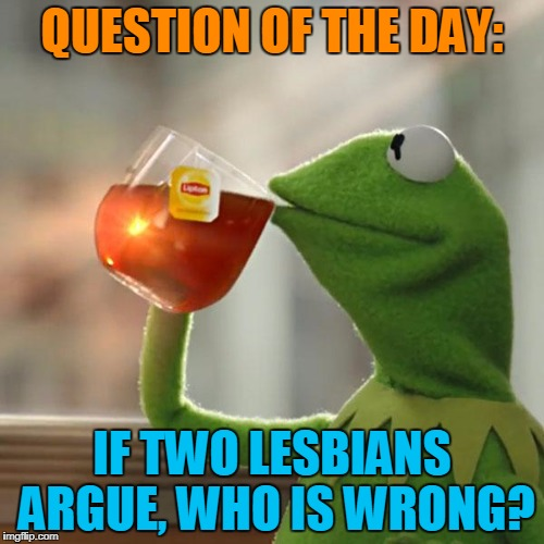 But Thats None Of My Business | QUESTION OF THE DAY: IF TWO LESBIANS ARGUE, WHO IS WRONG? | image tagged in memes,but thats none of my business,kermit the frog | made w/ Imgflip meme maker