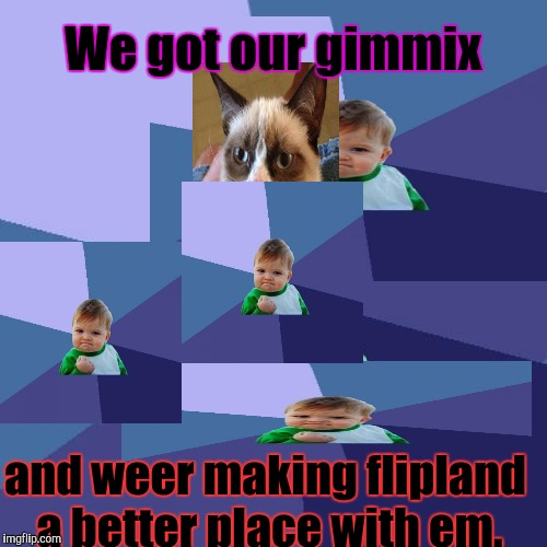 Success Kid Meme | We got our gimmix and weer making flipland a better place with em. | image tagged in memes,success kid | made w/ Imgflip meme maker