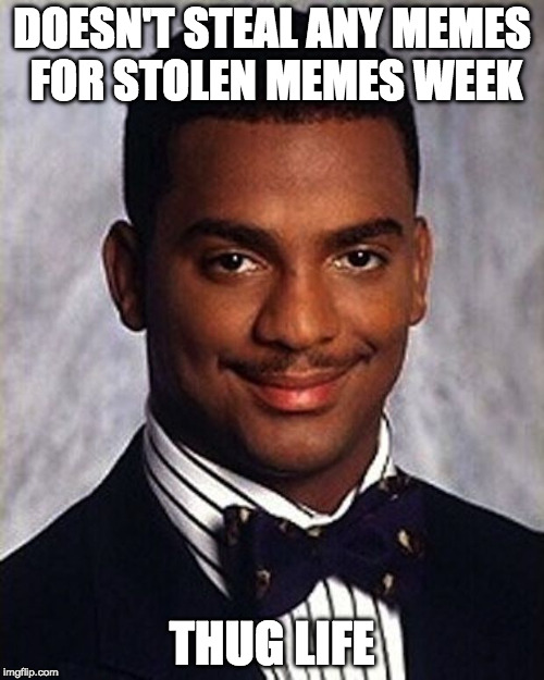 The meme life chose me |  DOESN'T STEAL ANY MEMES FOR STOLEN MEMES WEEK; THUG LIFE | image tagged in carlton banks thug life,thug life,iwanttobebacon,iwanttobebaconcom,stolen memes week,stolen | made w/ Imgflip meme maker