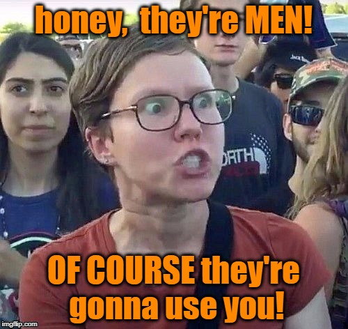 foggy | honey,  they're MEN! OF COURSE they're gonna use you! | image tagged in triggered feminist | made w/ Imgflip meme maker