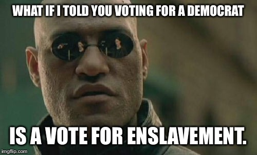 Matrix Morpheus Meme | WHAT IF I TOLD YOU VOTING FOR A DEMOCRAT IS A VOTE FOR ENSLAVEMENT. | image tagged in memes,matrix morpheus | made w/ Imgflip meme maker