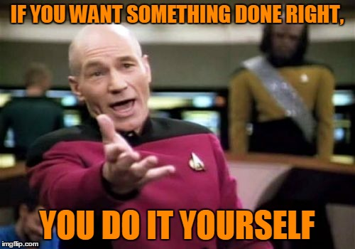 Picard Wtf Meme | IF YOU WANT SOMETHING DONE RIGHT, YOU DO IT YOURSELF | image tagged in memes,picard wtf | made w/ Imgflip meme maker