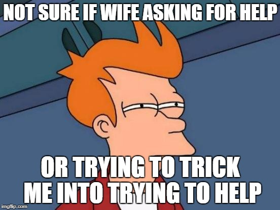 Futurama Fry Meme | NOT SURE IF WIFE ASKING FOR HELP OR TRYING TO TRICK ME INTO TRYING TO HELP | image tagged in memes,futurama fry | made w/ Imgflip meme maker