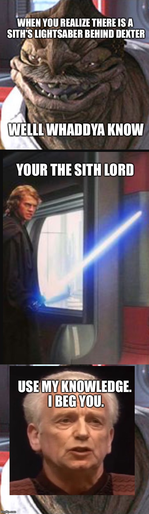 Dexter is a sixth lord | WHEN YOU REALIZE THERE IS A SITH'S LIGHTSABER BEHIND DEXTER USE MY KNOWLEDGE. I BEG YOU. WELLL WHADDYA KNOW YOUR THE SITH LORD | image tagged in sith lord,dexter,anakin skywalker,star wars,emperor palpatine,best meme | made w/ Imgflip meme maker