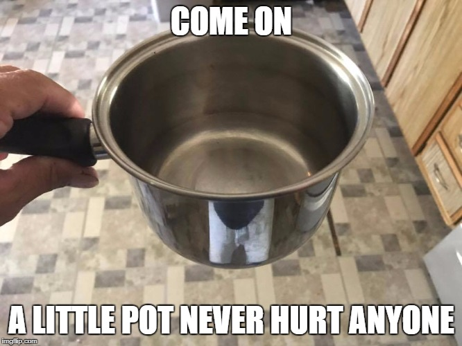 A little pot | COME ON A LITTLE POT NEVER HURT ANYONE | image tagged in pot,420,cannabis,kitchen,smoking,high | made w/ Imgflip meme maker