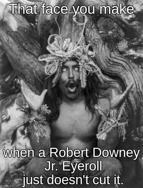Hamatsu Shaman Robert Downey Jr. Eyeroll on steroids | That face you make when a Robert Downey Jr. Eyeroll just doesn't cut it. | image tagged in hamatsu shaman robert downey jr eyeroll on steroids | made w/ Imgflip meme maker