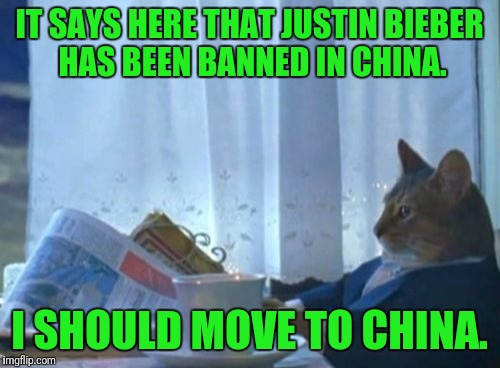 Those dudes in China just might be on to something... |  IT SAYS HERE THAT JUSTIN BIEBER HAS BEEN BANNED IN CHINA. I SHOULD MOVE TO CHINA. | image tagged in memes,i should buy a boat cat,justin bieber,chinese,china | made w/ Imgflip meme maker