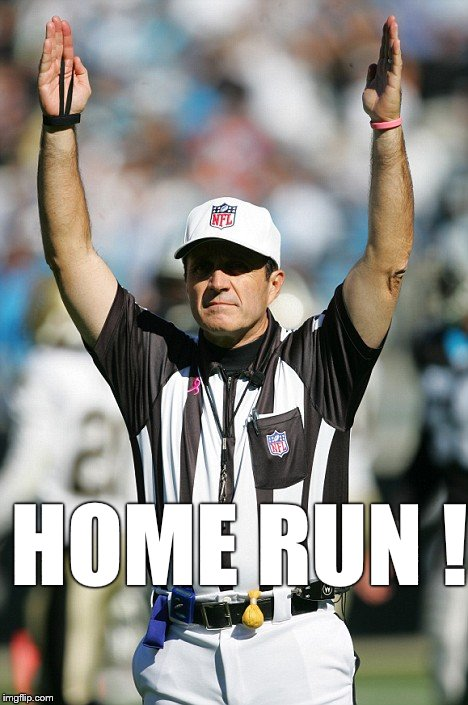 TOUCHDOWN! | HOME RUN ! | image tagged in touchdown | made w/ Imgflip meme maker
