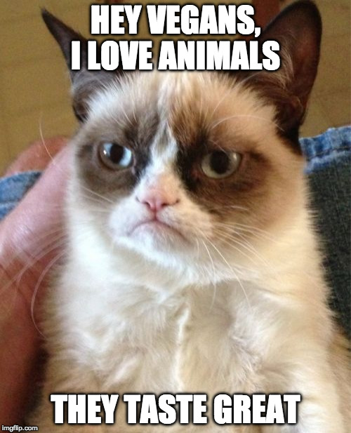 Grumpy Animal Lover | HEY VEGANS, I LOVE ANIMALS THEY TASTE GREAT | image tagged in memes,grumpy cat,vegan,iwanttobebacon,iwanttobebaconcom | made w/ Imgflip meme maker