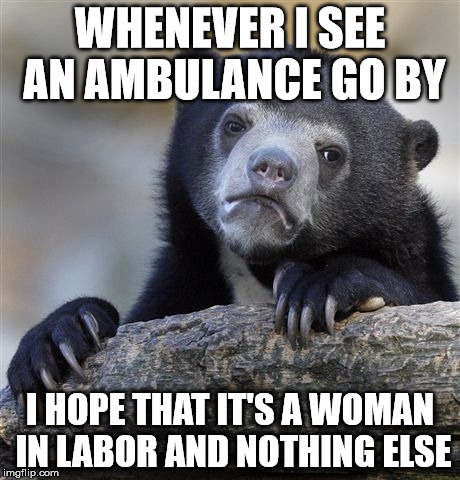 Confession Bear Meme | WHENEVER I SEE AN AMBULANCE GO BY I HOPE THAT IT'S A WOMAN IN LABOR AND NOTHING ELSE | image tagged in memes,confession bear | made w/ Imgflip meme maker
