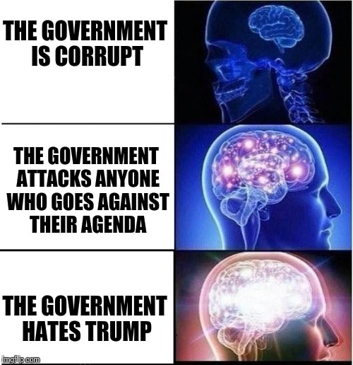 THE GOVERNMENT IS CORRUPT THE GOVERNMENT ATTACKS ANYONE WHO GOES AGAINST THEIR AGENDA THE GOVERNMENT HATES TRUMP | made w/ Imgflip meme maker