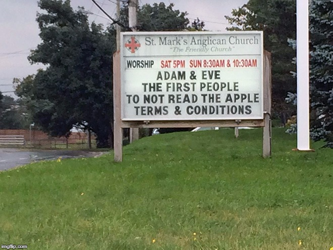 church sign | image tagged in apple,adam and eve,terms and conditions,church | made w/ Imgflip meme maker