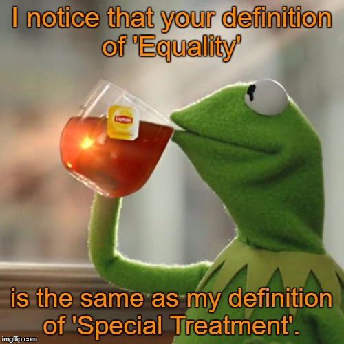 But Thats None Of My Business Meme | I notice that your definition of 'Equality' is the same as my definition of 'Special Treatment'. | image tagged in memes,but thats none of my business,kermit the frog | made w/ Imgflip meme maker