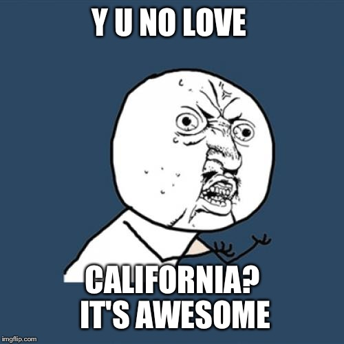 Y U No Meme | Y U NO LOVE CALIFORNIA?  IT'S AWESOME | image tagged in memes,y u no | made w/ Imgflip meme maker