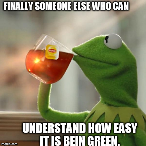 But Thats None Of My Business Meme | FINALLY SOMEONE ELSE WHO CAN UNDERSTAND HOW EASY IT IS BEIN GREEN. | image tagged in memes,but thats none of my business,kermit the frog | made w/ Imgflip meme maker